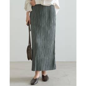 [低身長サイズ有]グロッシーサテンプリーツIラインスカート (グリーン)