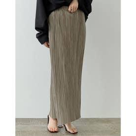 [低身長サイズ有]グロッシーサテンプリーツIラインスカート (モカグレージュ)