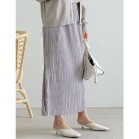 [低身長サイズ有]グロッシーサテンプリーツIラインスカート (ラベンダー)