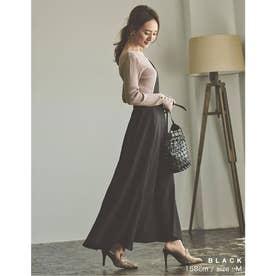 [低身長向けSサイズ対応]ワンショルダーフレアジャンパースカート (ブラック)