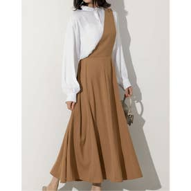 [低身長向けSサイズ対応]ワンショルダーフレアジャンパースカート (キャメル)