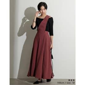 [低身長向けSサイズ対応]ワンショルダーフレアジャンパースカート (レッド)