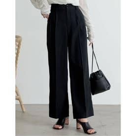 [2021S/S COLLECTION][低身長/高身長サイズ有]ハイウエストダブルタックセンタープレススラックスパンツ (ブラック)