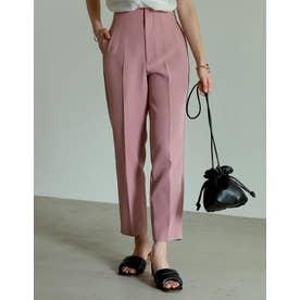 [低身長/高身長サイズ有]ストレッチカットツイルハイウエストテーパードパンツ (ピンク)