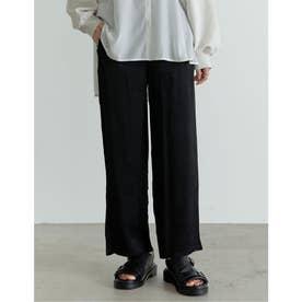 [低身長/高身長サイズ有]総柄サテンジャガードタックストレートパンツ (ブラック)