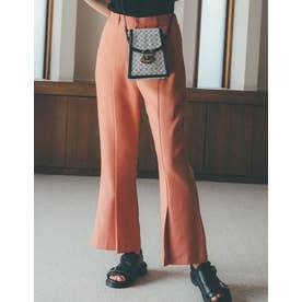 [低身長/高身長サイズ有]フロントタックストレートパンツ (ピンク)