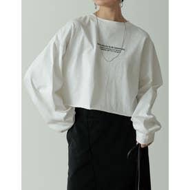 刺繍ロゴクロップド丈コットンカットソー (オフホワイト)