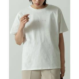 ロゴが選べるオーガニックコットンフレンチスリーブTシャツ (ミニロゴオフホワイト)