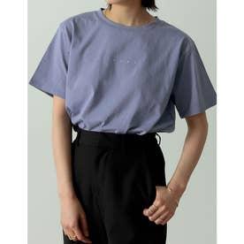 ロゴが選べるオーガニックコットンフレンチスリーブTシャツ (ミニロゴサックスブルー)