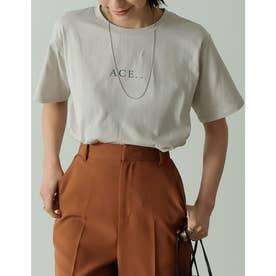 ロゴが選べるオーガニックコットンフレンチスリーブTシャツ (ロゴグレージュ)