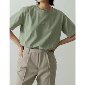 ロゴが選べるオーガニックコットンフレンチスリーブTシャツ (ロゴライトグリーン)