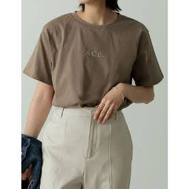 ロゴが選べるオーガニックコットンフレンチスリーブTシャツ (ロゴブラウン)