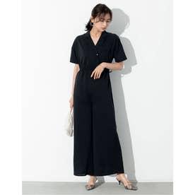 [お家で洗える][低身長向けSサイズ対応]ストレッチ開襟シャツオールインワン (ブラック)