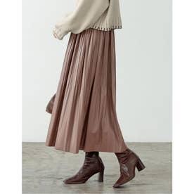 [低身長向けSサイズ有]ライトヴィーガンレザー消しプリーツスカート (ブラウン)