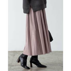 [低身長向けSサイズ有]ライトヴィーガンレザー消しプリーツスカート (ピンク)