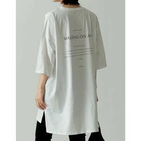 オーガニックコットンバックロゴビッグシルエットTシャツ (オフホワイト)