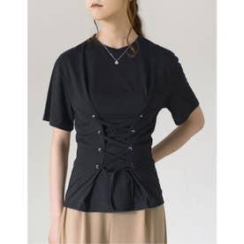コルセット風レースアップTシャツ (ブラック)