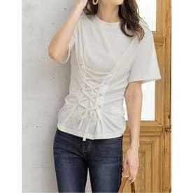 コルセット風レースアップTシャツ (ホワイト)