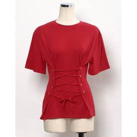 コルセット風レースアップTシャツ (レッド)