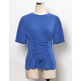 コルセット風レースアップTシャツ (ブルー)