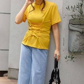 コルセット風レースアップTシャツ (マスタード)