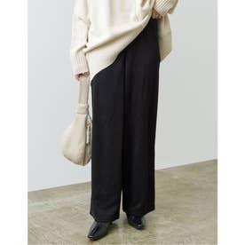 [低身長向けサイズ/高身長向けサイズ有]ピーチスキンルーズストレートパンツ (ブラック)