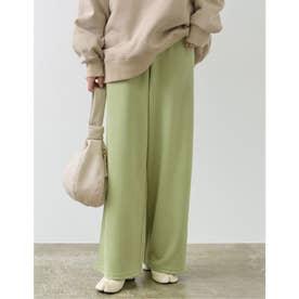 [低身長向けサイズ/高身長向けサイズ有]ピーチスキンルーズストレートパンツ (グリーン)