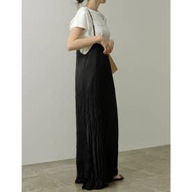 ヴィンテージサテンプリーツジャンパースカート (ブラック)