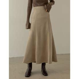 [低身長向け/高身長向けサイズ有]ポンチスウェードストレッチナロースカート (アイボリーベージュ)