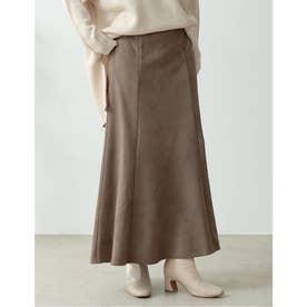 [低身長向け/高身長向けサイズ有]ポンチスウェードストレッチナロースカート (モカグレー)