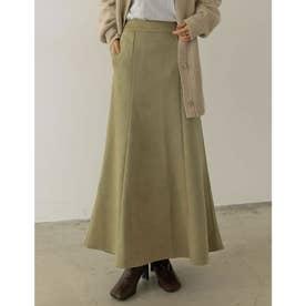 [低身長向け/高身長向けサイズ有]ポンチスウェードストレッチナロースカート (グリーン)