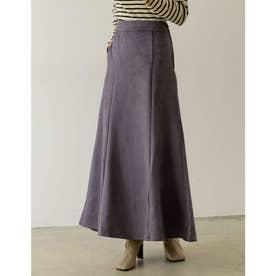 [低身長向け/高身長向けサイズ有]ポンチスウェードストレッチナロースカート (パープル)