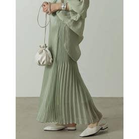 [低身長サイズ有]ランダムプリーツシャイニーロングスカート (ミント)