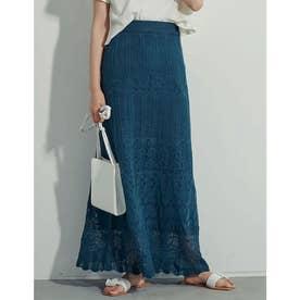 [高身長サイズ有]かぎ編みロングナローニットスカート (ブルー)