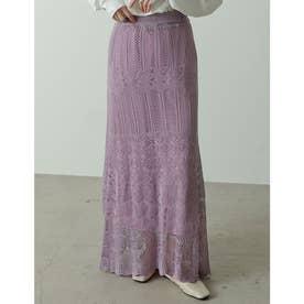[低身長/高身長サイズ有]かぎ編みナローロングニットスカート (ラベンダー)