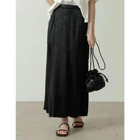 [低身長サイズ有り]サテンジャガードナロースリットスカート (ブラック)