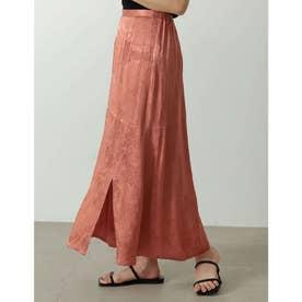 [低身長サイズ有り]サテンジャガードナロースリットスカート (ピンク)
