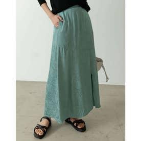 [低身長サイズ有り]サテンジャガードナロースリットスカート (グリーン)