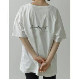 [ユニセックス/親子ペア/キッズサイズ/I.W.U(アイダブリュー)]USAコットンバックロゴ半袖Tシャツ (オフホワイト)