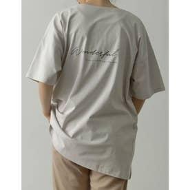 [ユニセックス/親子ペア/キッズサイズ/I.W.U(アイダブリュー)]USAコットンバックロゴ半袖Tシャツ (ベージュ)