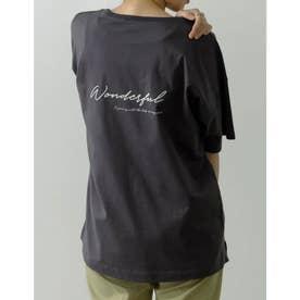 [ユニセックス/親子ペア/キッズサイズ/I.W.U(アイダブリュー)]USAコットンバックロゴ半袖Tシャツ (スミクロ)