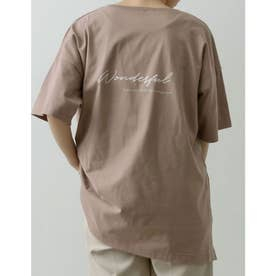[ユニセックス/親子ペア/キッズサイズ/I.W.U(アイダブリュー)]USAコットンバックロゴ半袖Tシャツ (モカ)