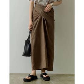 [低身長サイズ有]ペチコート付きマルチウェイラップコットンスカート (モカ)