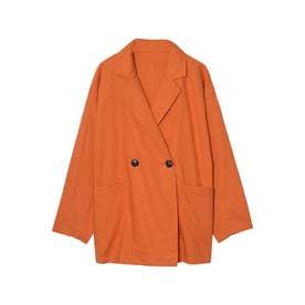 リネンライクダブルテーラードジャケット (オレンジ)
