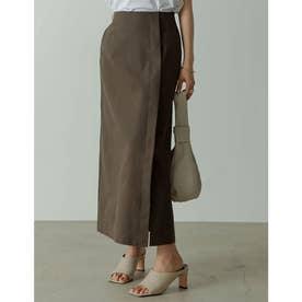リネンライクラップ風ロングタイトスカート (ブラウン)