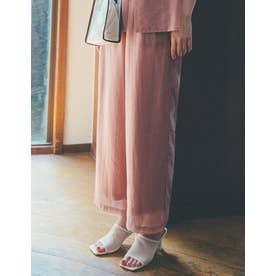 [飯豊まりえさん着用][低身長サイズ有]ソフトオーガンジーストレートパンツ (モカピンク)