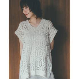 [飯豊まりえさん着用][低身長サイズ有]テープヤーンニット透かし編みノースリチュニック (オートミール)