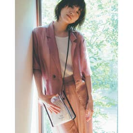 [飯豊まりえさん着用]ソフトオーガンジーシアー半袖シャツ (モカピンク)
