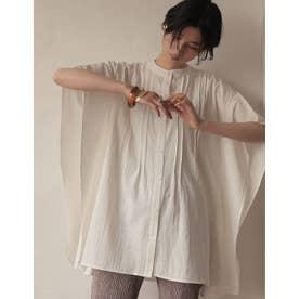 [2021SUMMER COLLECTION]コットンジャガードピンタックポンチョシャツ (ホワイト)