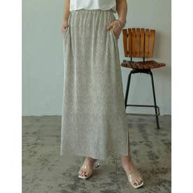 [2021SUMMER COLLECTION][低身長サイズ有]総柄マットプリーツIラインスカート (ダマスクアイボリー)